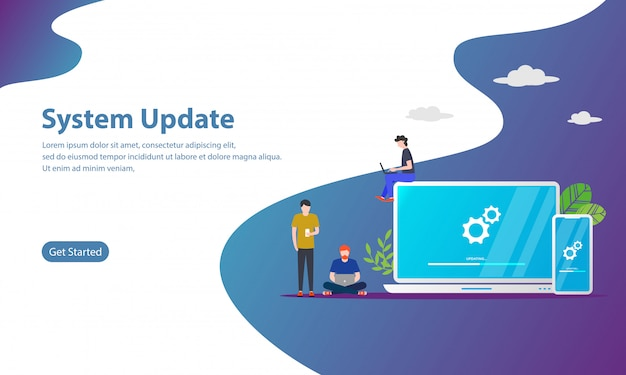 System update vector illustration concept