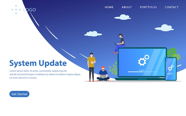 System update, website vector illustration