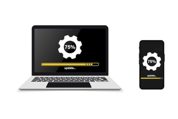 시스템 업그레이드. 컴퓨터와 휴대폰에 업데이트 진행률 및 로딩 바 설치. 업데이트 또는 로드 프로세스. 새 소프트웨어, 운영 체제를 설치합니다. 클라우드 업로드 중