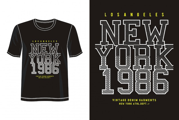 プリントtシャツのニューヨーク1986タイポグラフィ