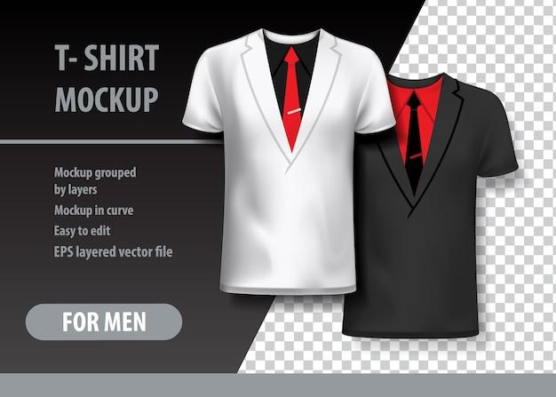 Tシャツ2色のスーツでモックアップ。モックアップはレイヤーで編集可能です。