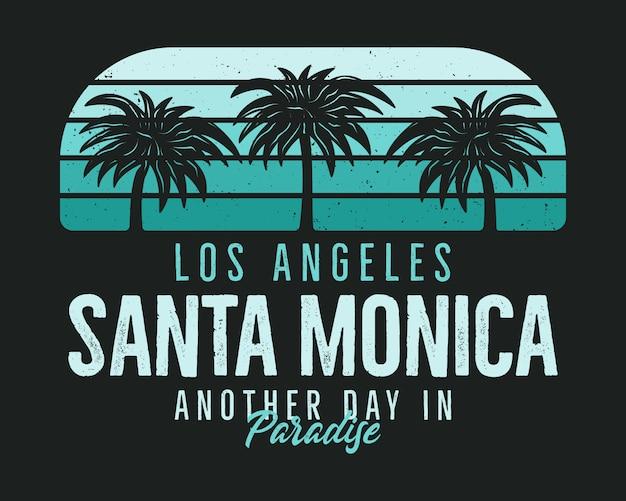 Tシャツのサンタモニカビーチグラフィック、プリント。ビンテージロサンゼルス手描き90年代スタイルのエンブレム。