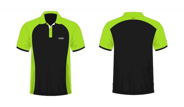 白い背景の上のデザインのtシャツポロの緑と黒のテンプレート。ベクトルイラストeps 10