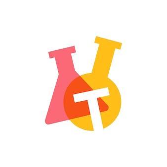 T letter lab laboratory glassware beaker logo vector icon illustration