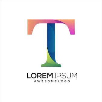 T letter logo initial colorful illustration gradient Premium Vector