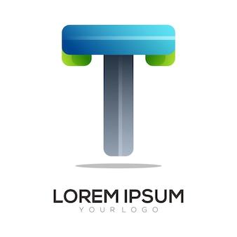 T письмо логотип инициалы красочный градиент аннотация