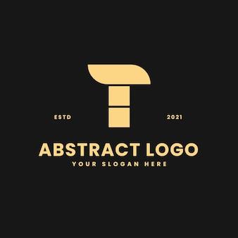 T letter luxurious gold geometric block concept logo vector icon illustration