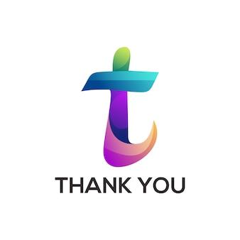 T letter people colorful logo gradient illustration