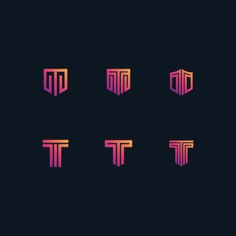 T logo set in gradients color