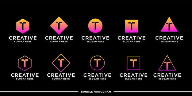 Шаблон логотипа t премиум