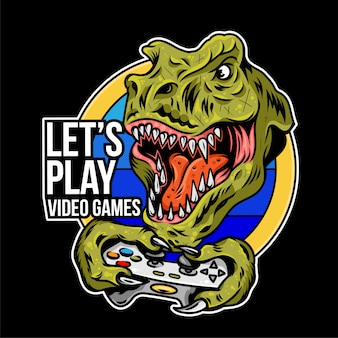 T rex angry dinosaur gamer which play game on joystick gamepad controller for arcade video game. custom mascot sport logo design  illustration. print design of geek culture for t shirt apparel.