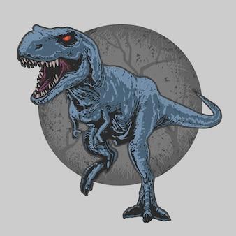 Динозавр дикий зверь t-rex редактируемые слои вектор artwork редактируемый слой