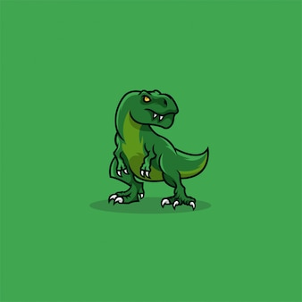 T rex cute cartoon illustration   logo.