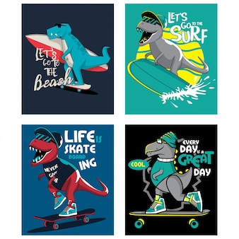 T-rex dinosaur surfing and skating, set of illustrations for kids