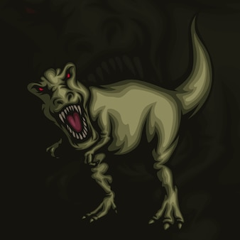 T rex esport mascot illustration