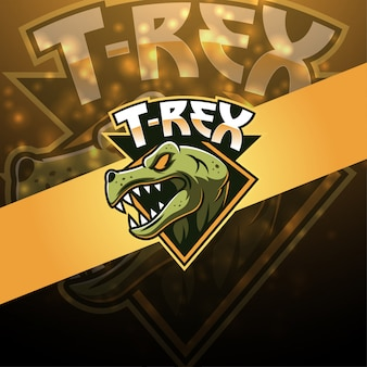 Дизайн логотипа талисмана t-rex esport