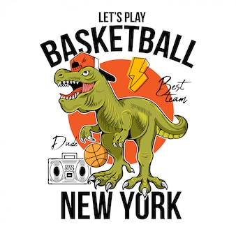 クールな男t-rexティラノサウルスレックス恐竜バスケットボールで遊ぶボール。漫画キャライラストプリントデザインtシャツtシャツtシャツステッカーポスターの分離の白い背景。