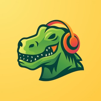 T-rex using headphone mascot logo