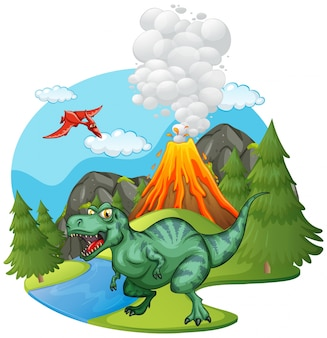 T-rex, ревущий на вулкане