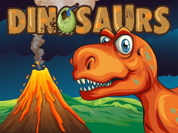 Плакат с динозавром t-rex