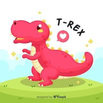 Нарисованная рукой милая иллюстрация t-rex