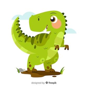 Плоский фон динозавров t-rex