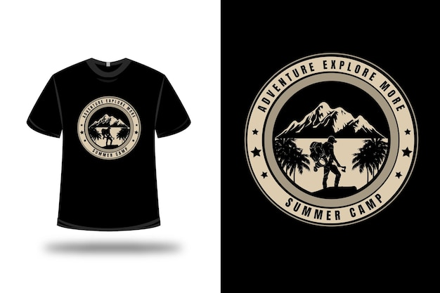 T-shirt adventure explore more summer camp color cream