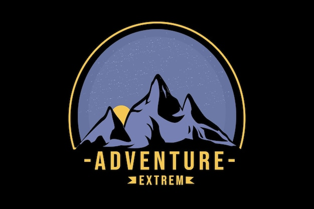T-shirt adventure extreme color purple and yellow