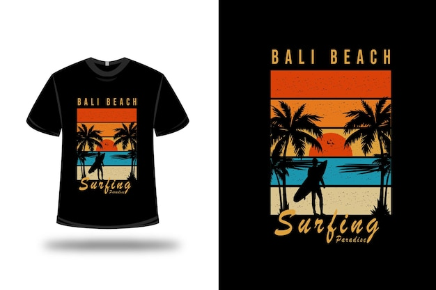 T-shirt bali beach surfing paradise on orange blue and yellow