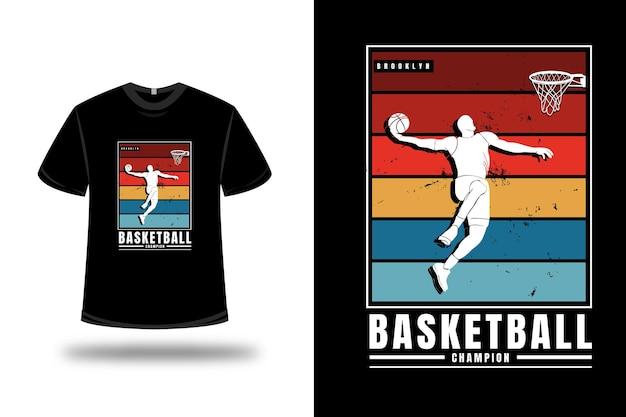 Tシャツバスケットボールチャンピオンカラーオレンジイエローとグリーン