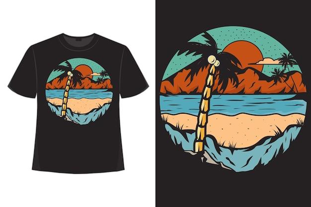 Футболка пляж природа исследует пальмовые горы рисованной стиль винтажная иллюстрация
