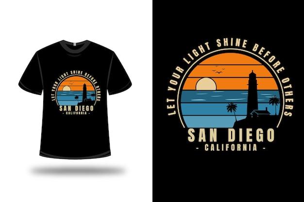 티셔츠 비치 샌디에고 캘리포니아 색상 파란색과 주황색