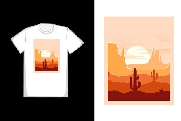 티셔츠 아름다운 사막 산 색상 주황색과 빨간색