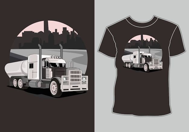 T shirt  big truck in city