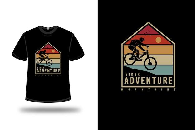 티셔츠 자전거 타는 사람 모험 산 색상 주황색 노란색 및 녹색
