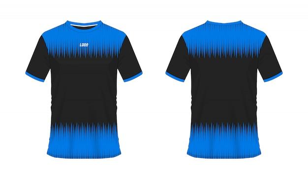 白い背景の上のチームクラブの青と黒のtシャツサッカーまたはフットボールテンプレート。ジャージースポーツ、