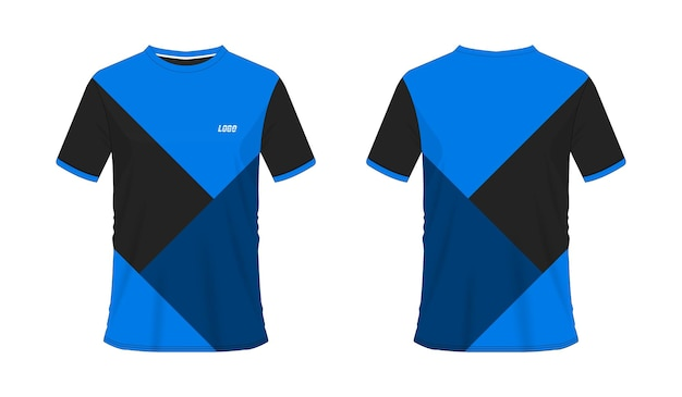 白地にチームクラブのtシャツ青と黒のサッカーまたはサッカーテンプレート。ジャージースポーツ、