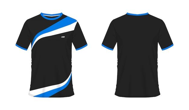 흰색 바탕에 팀 클럽을 위한 티셔츠 파란색과 검은색 축구 또는 축구 템플릿. 저지 스포츠