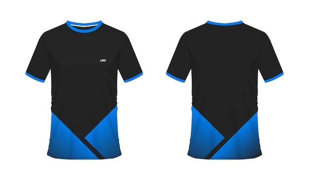 흰색 바탕에 팀 클럽을 위한 티셔츠 파란색과 검은색 축구 또는 축구 템플릿.