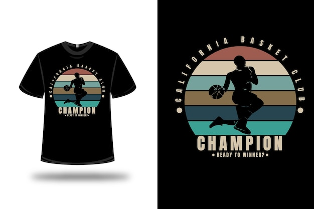 Tシャツカリフォルニアバスケットボールクラブチャンピオンが勝者の色オレンジクリームとグリーン