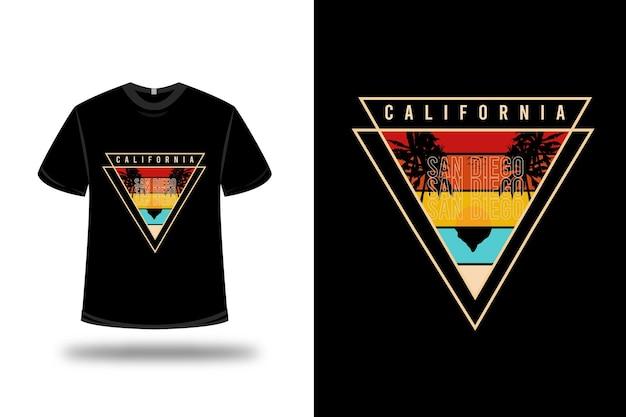 티셔츠 캘리포니아 샌디에고 색상 주황색 노란색 및 파란색