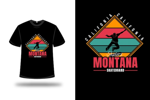 T-shirt california skaters montana skateboard color yellow red and green