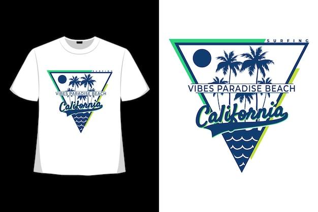 티셔츠 캘리포니아 느낌 파라다이스 비치 서핑 빈티지 스타일