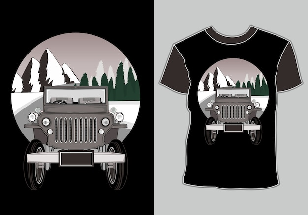 T shirt  car adventure with mountain