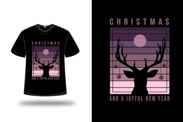 Tシャツのクリスマスと楽しい新年の色紫とピンク