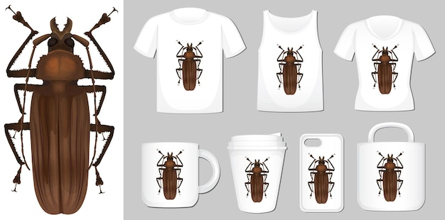 T-shirt, cup and cover mobile design with beetle Free Vector