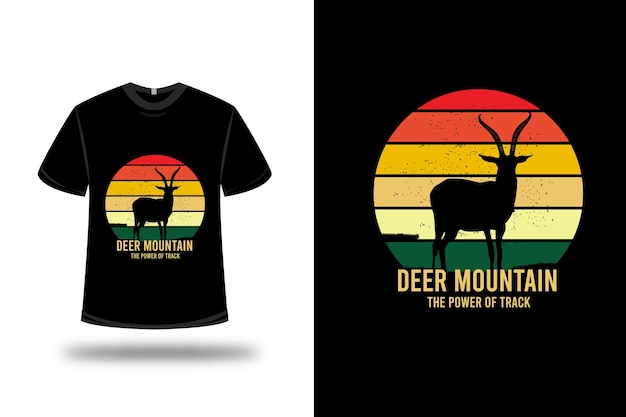 T-shirt deer mountain the power of track color yellow and orange green