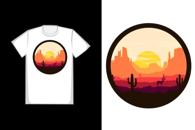티셔츠 사막 모래 선인장 사슴 자연 색상 검정과 오렌지색
