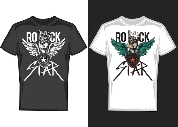 T-shirt design on 2 t-shirts with hands and wings.