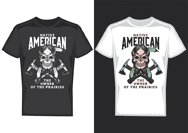 T-shirt design on 2 t-shirts with posters of native americans.